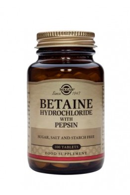 Solgar - Betaine Hydrochloride with Pepsin 100 Tablets