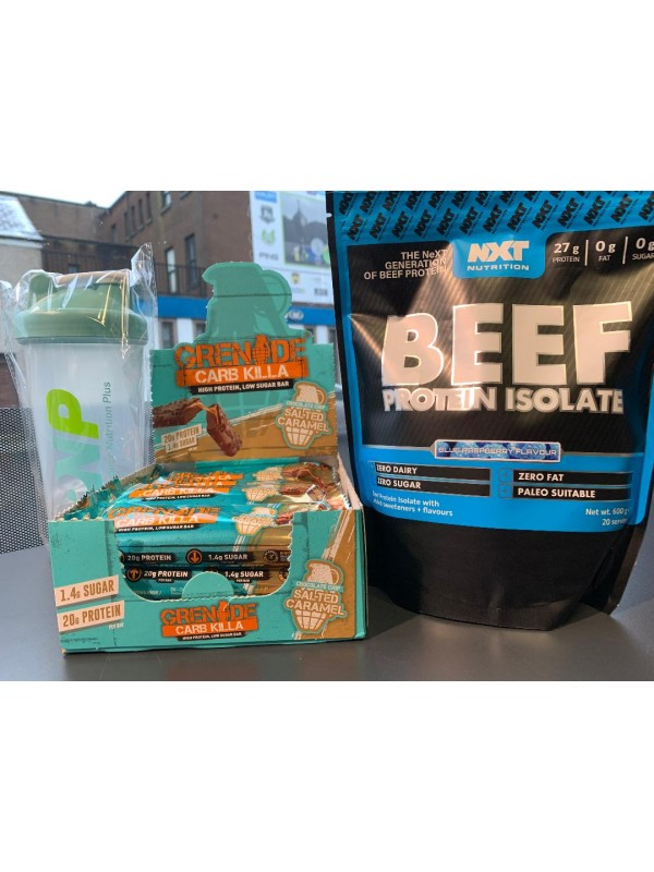 NXT Beef Protein Isolate 600g + Grenade Carb Killa Bars (Box of 12 Bars) + PNP Shaker